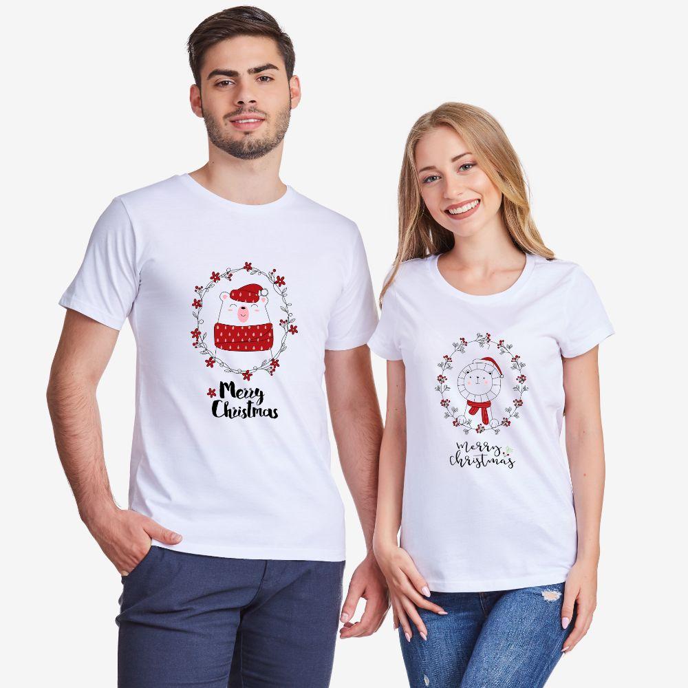 Комплект бели тениски за влюбени Merry Christmas Couple
