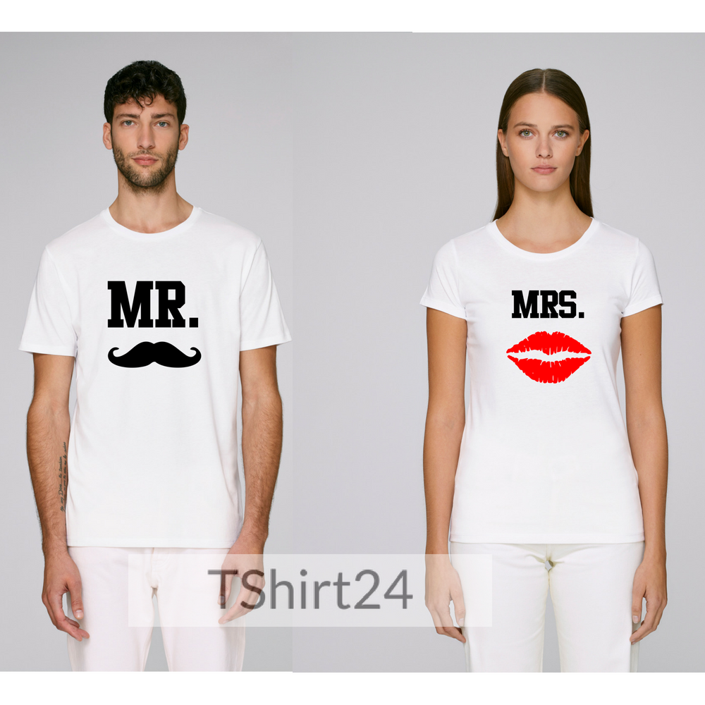 Комплект бели тениски за влюбени Mr - Mrs