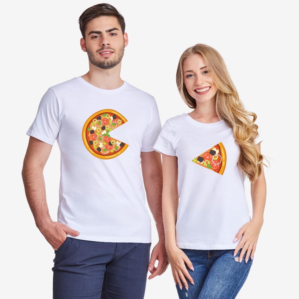 Комплект бели тениски за влюбени Pizza Slices
