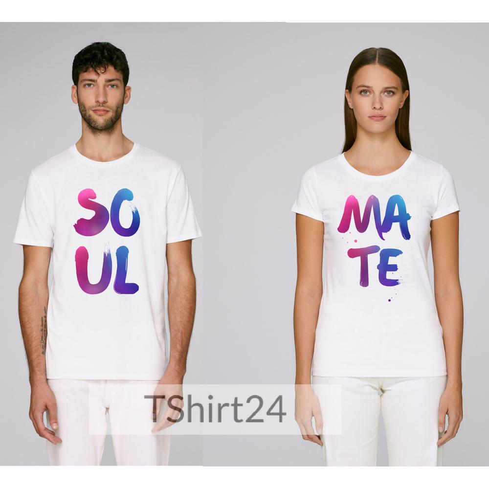 Комплект бели тениски за влюбени SO-UL MA-TE