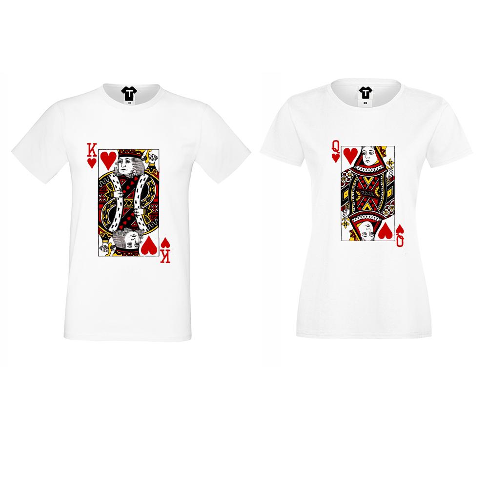 Комплект тениски за двойки King Queen Cards