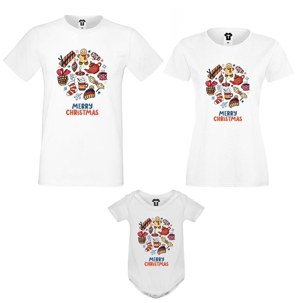 Семеен комплект тениски с бебешко боди Merry Christmas Gifts