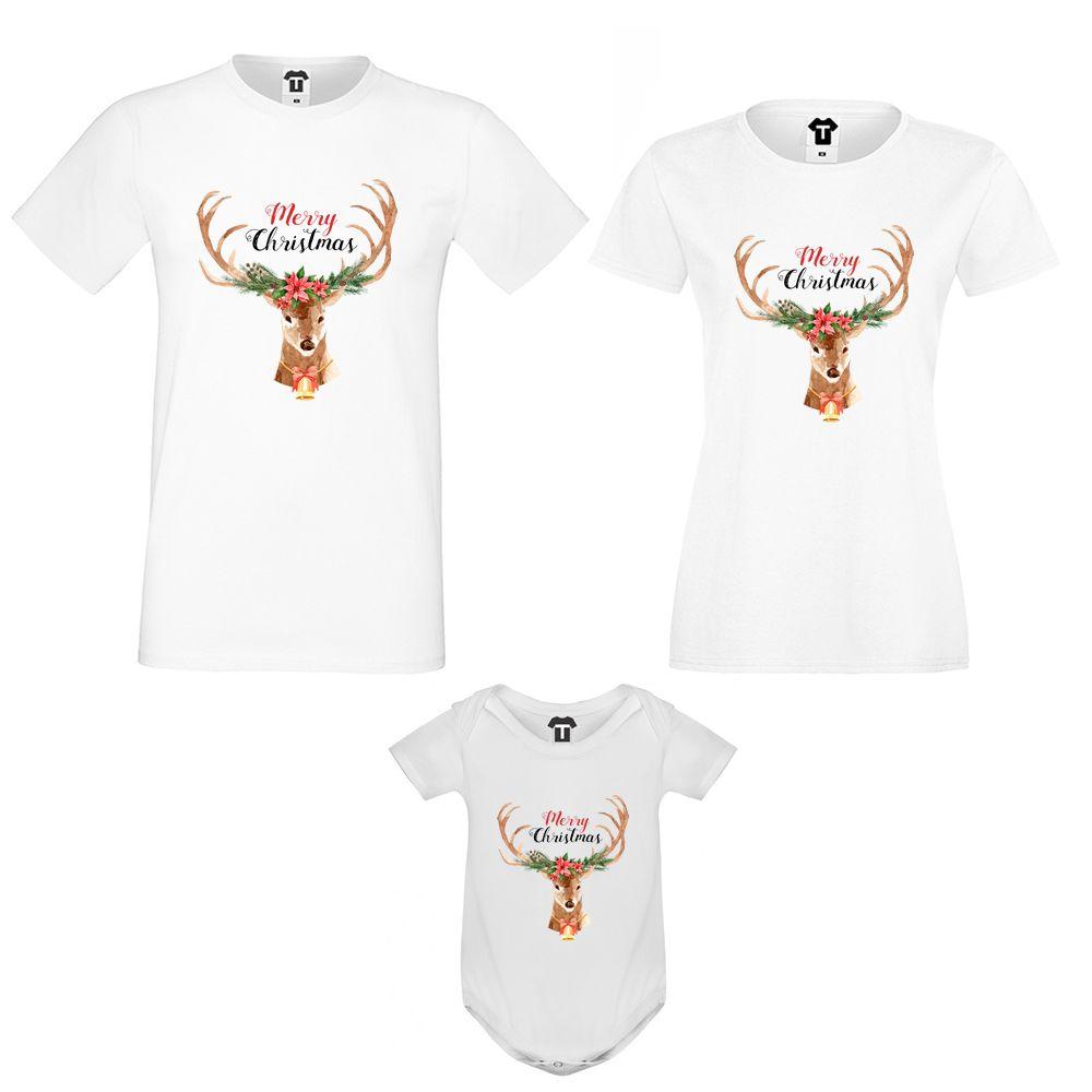 Семеен комплект тениски с бебешко боди Merry Christmas Deer Family