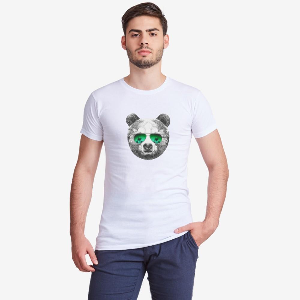 Мъжка бяла тениска с принт Bear with Sunglasses