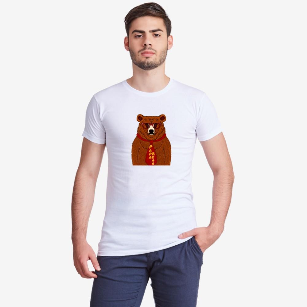 Мъжка бяла тениска с принт Papa Bear Animated