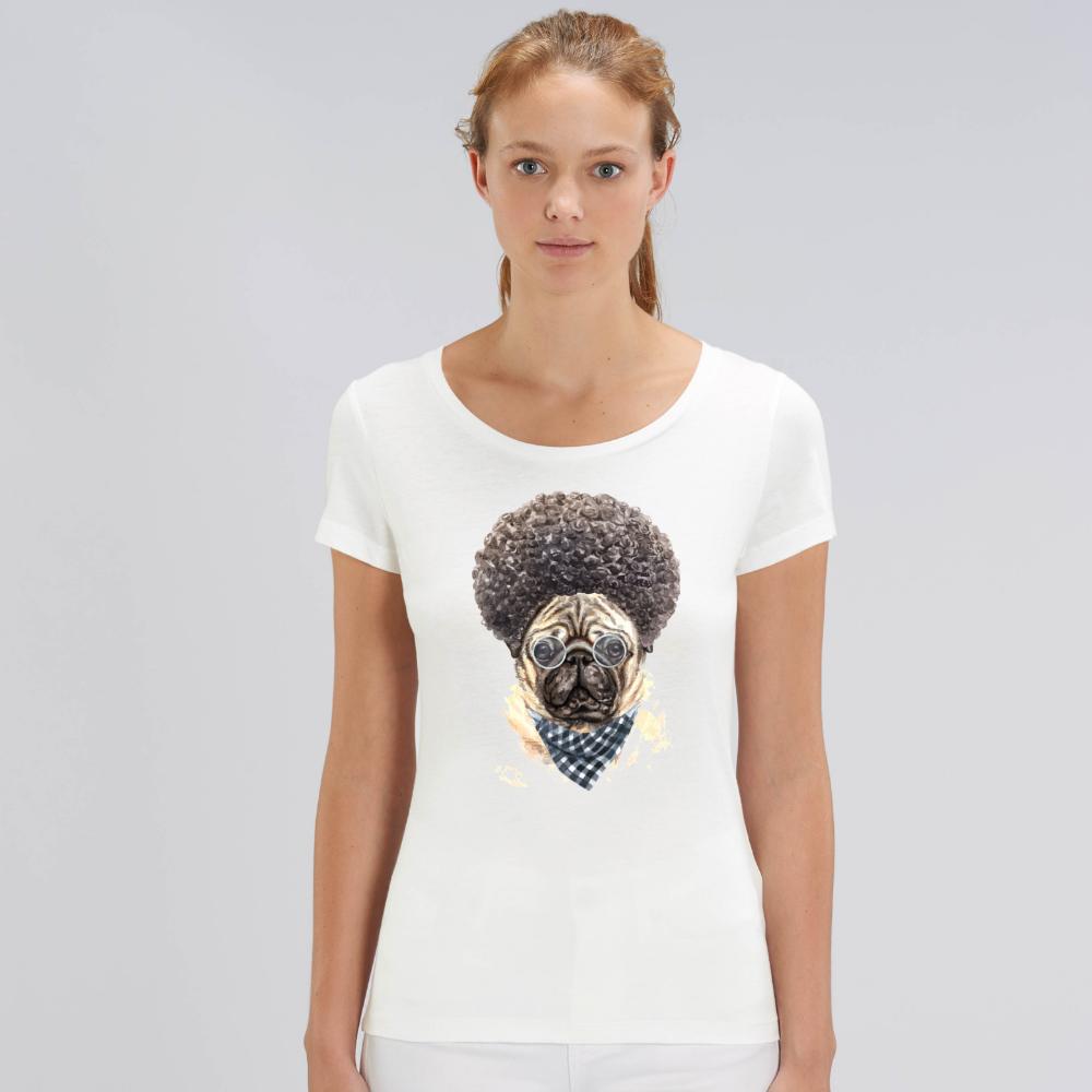 Дамска бяла тениска от органичен памук Afro Dog