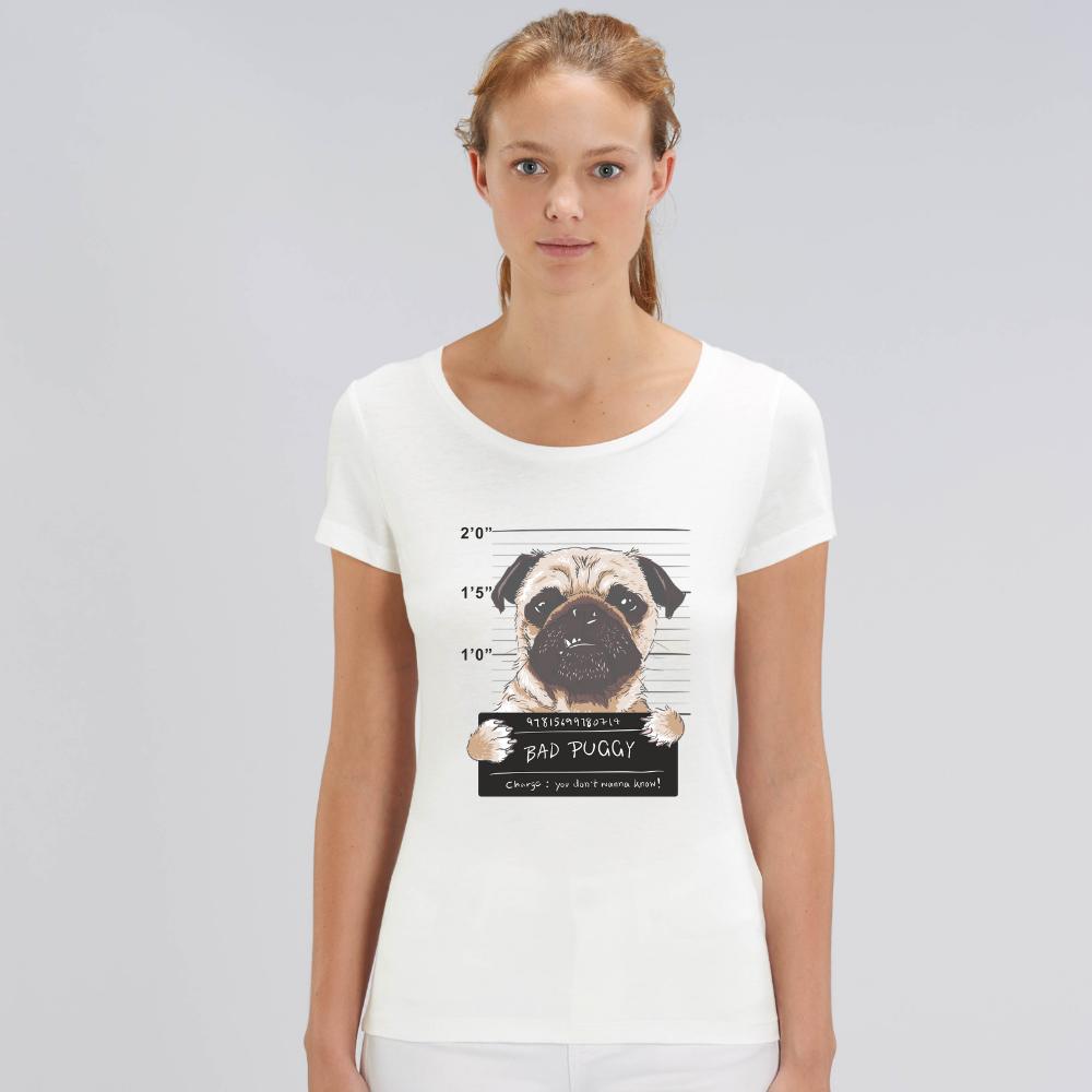 Дамска бяла тениска от органичен памук Bad Puggy