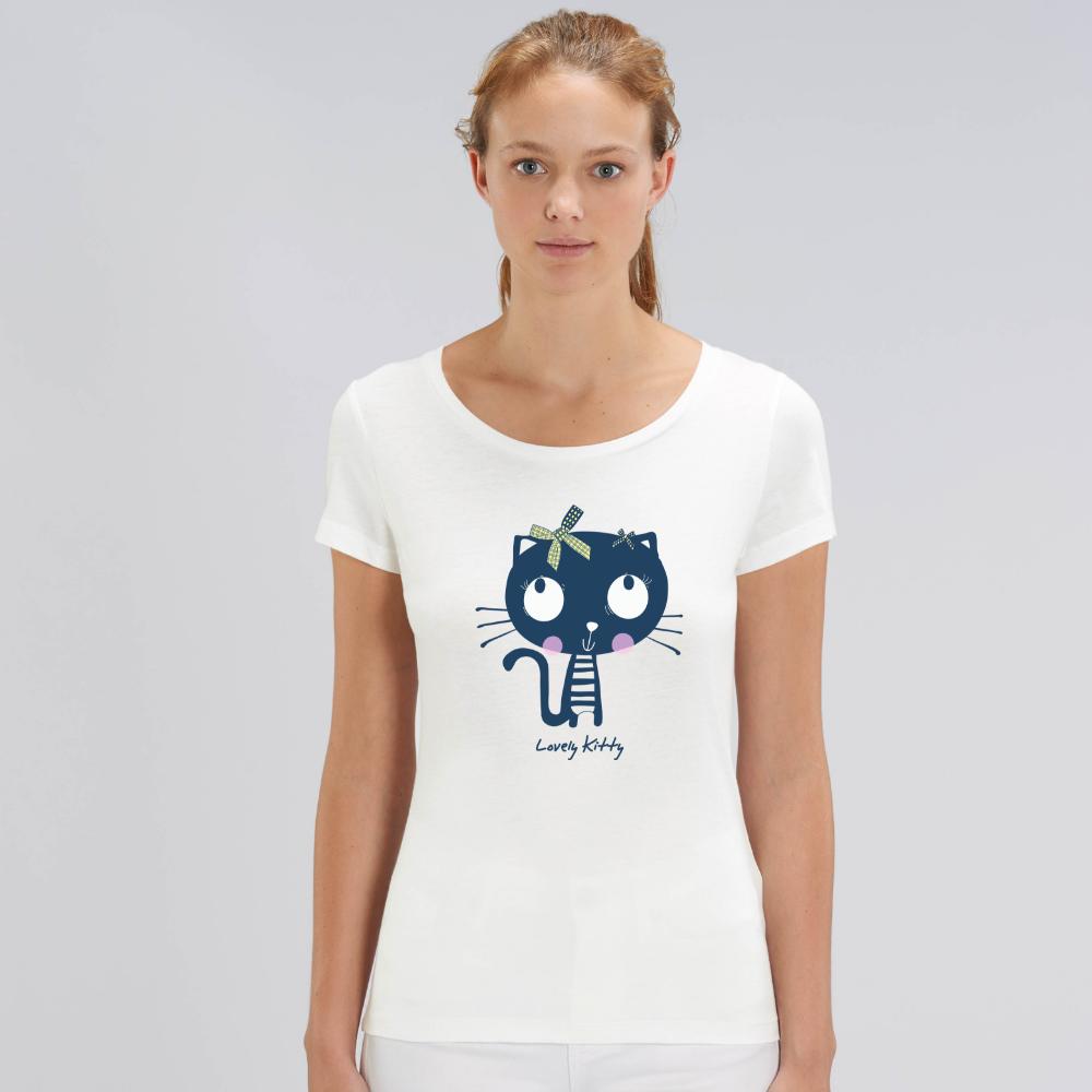Дамска бяла тениска от органичен памук Lovely Kitty