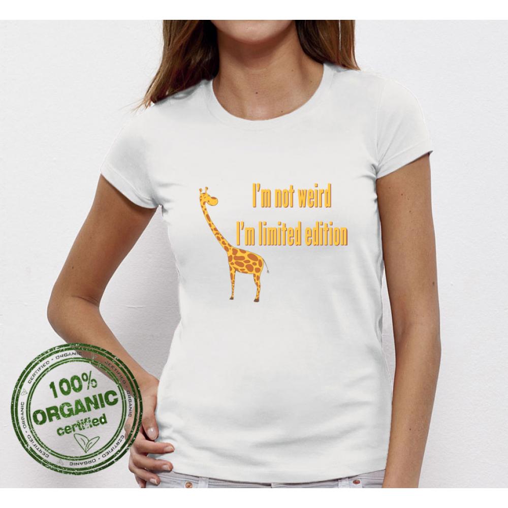 Дамска бяла тениска от 100% органичен памук I am not Weird Giraffe