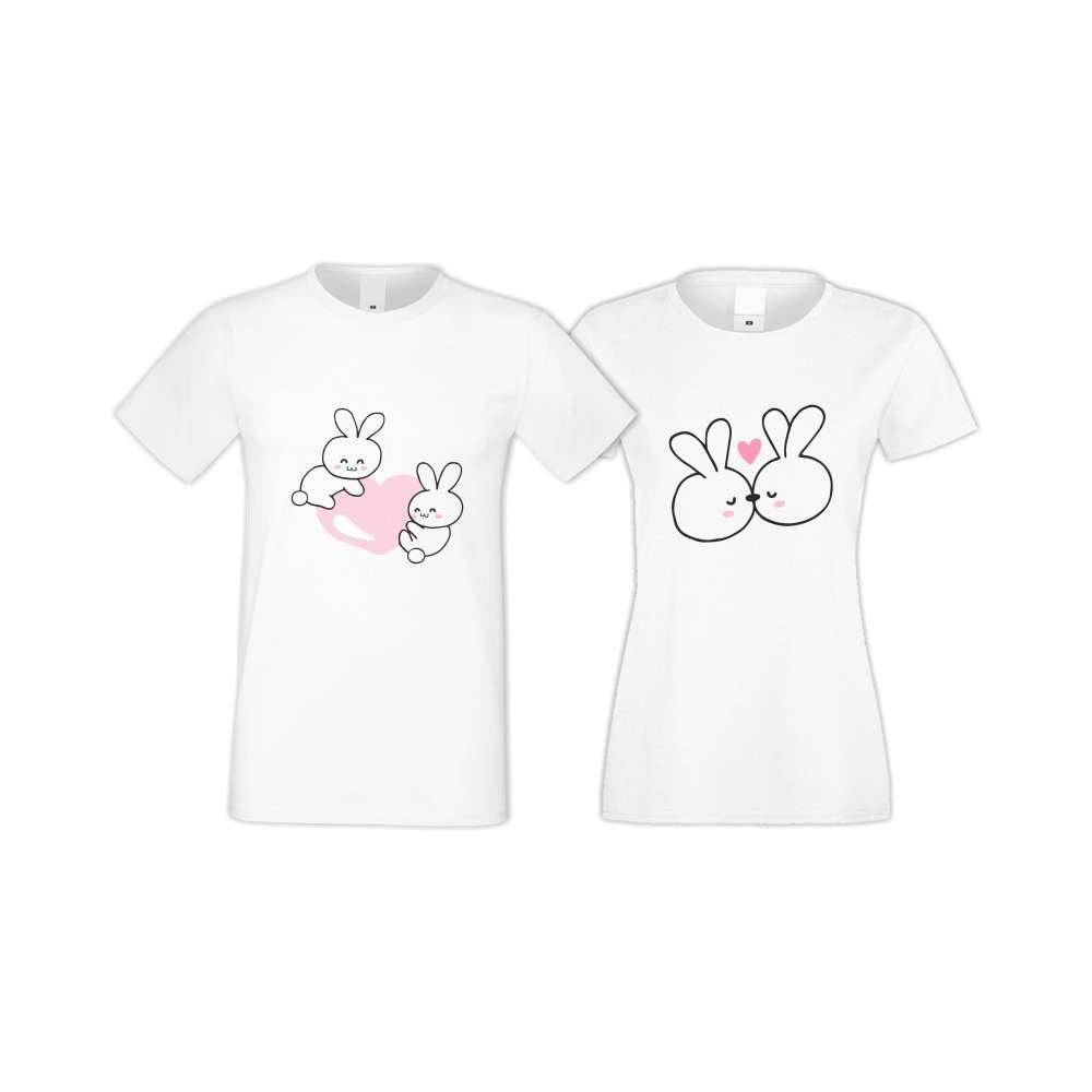 Бели тениски за двойки Bunnies