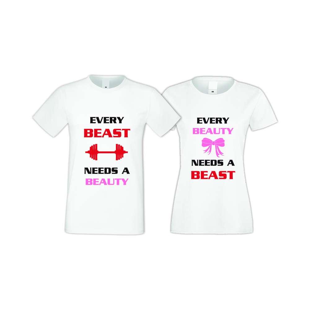 Бели тениски за двойки Every BEAST AND BEAUTY