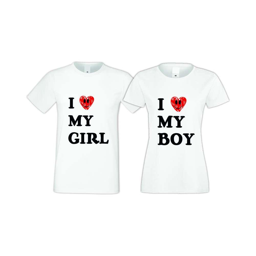 Бели тениски за двойки I LOVE MY BOY-GIRL