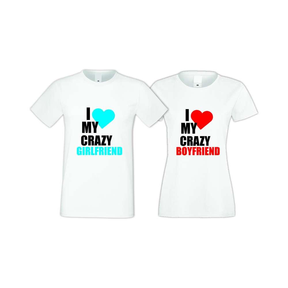 Бели тениски за двойки I Love My Crazy