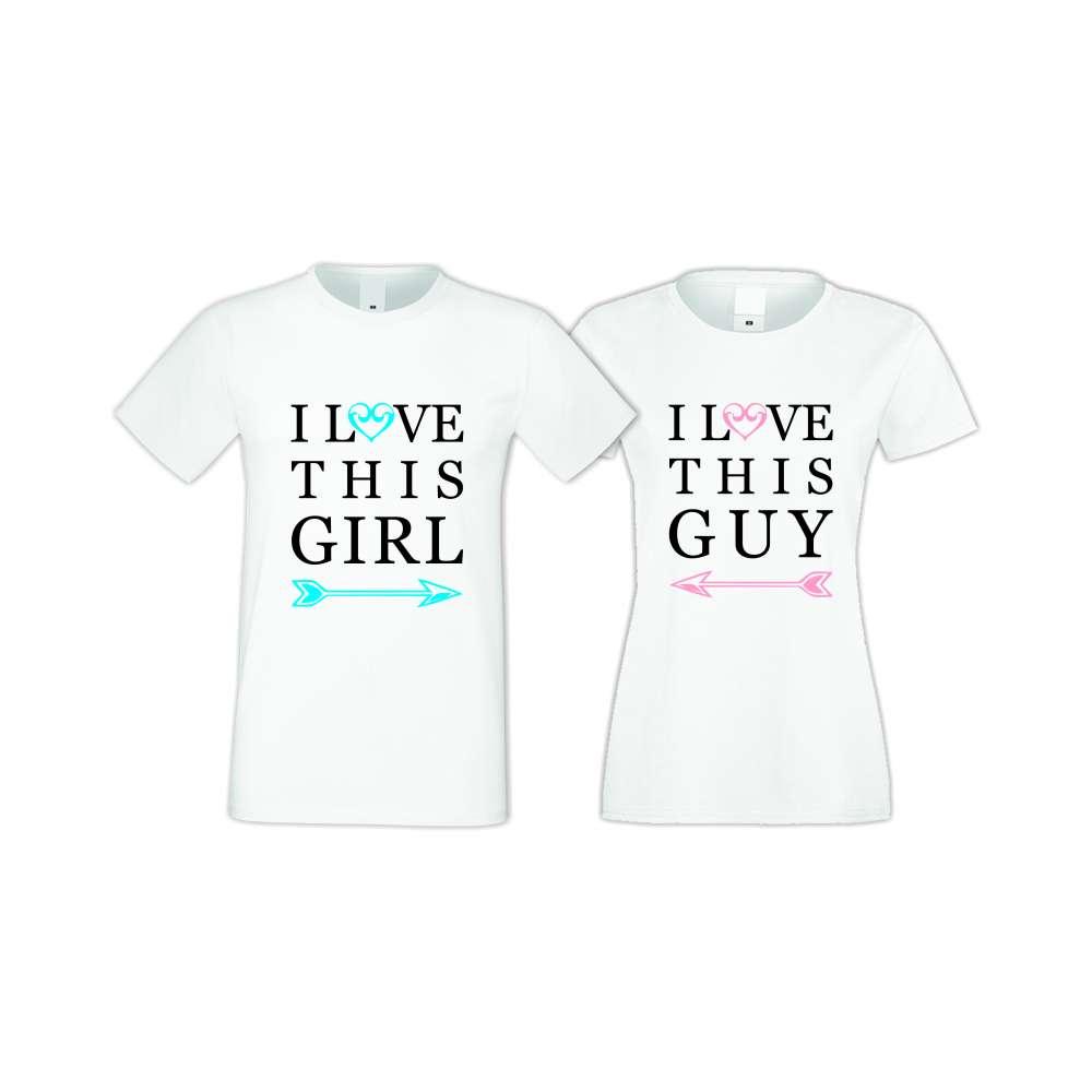 Бели тениски за двойки I LOVE THIS