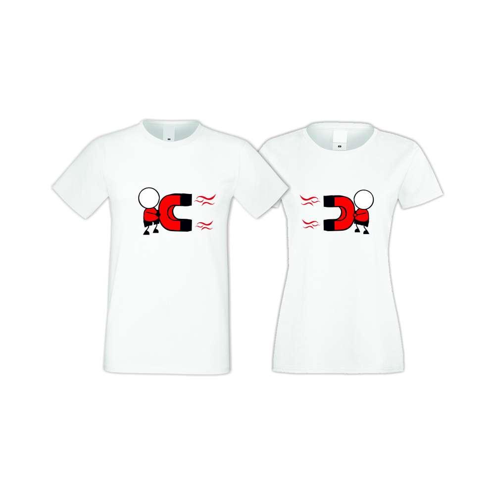 Бели тениски за двойки MAGNETS LOVE