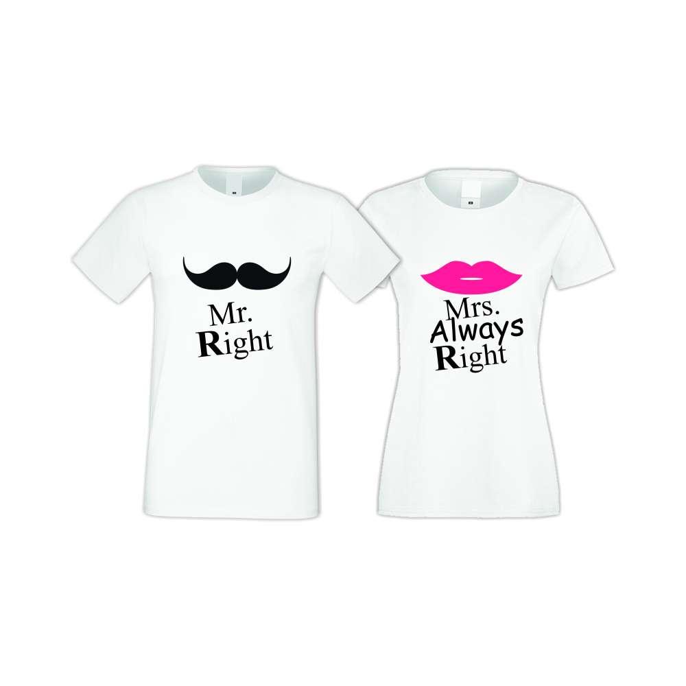 Бели тениски за двойки Mr Right Mrs Always Right