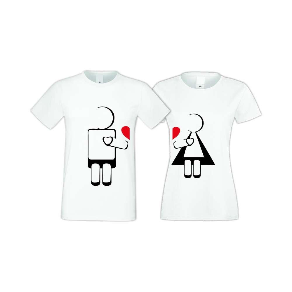 Бели тениски за двойки ROBOT LOVE