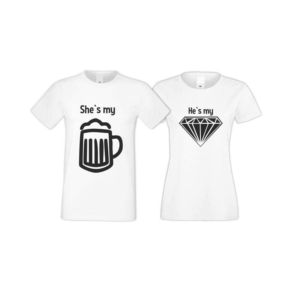 Бели тениски за двойки SHE IS MY BEER