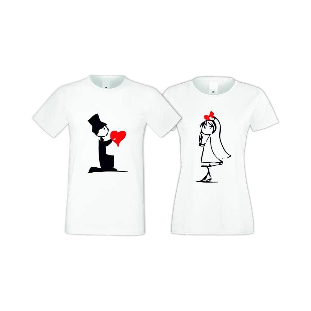 Бели тениски за двойки CUTE COUPLE