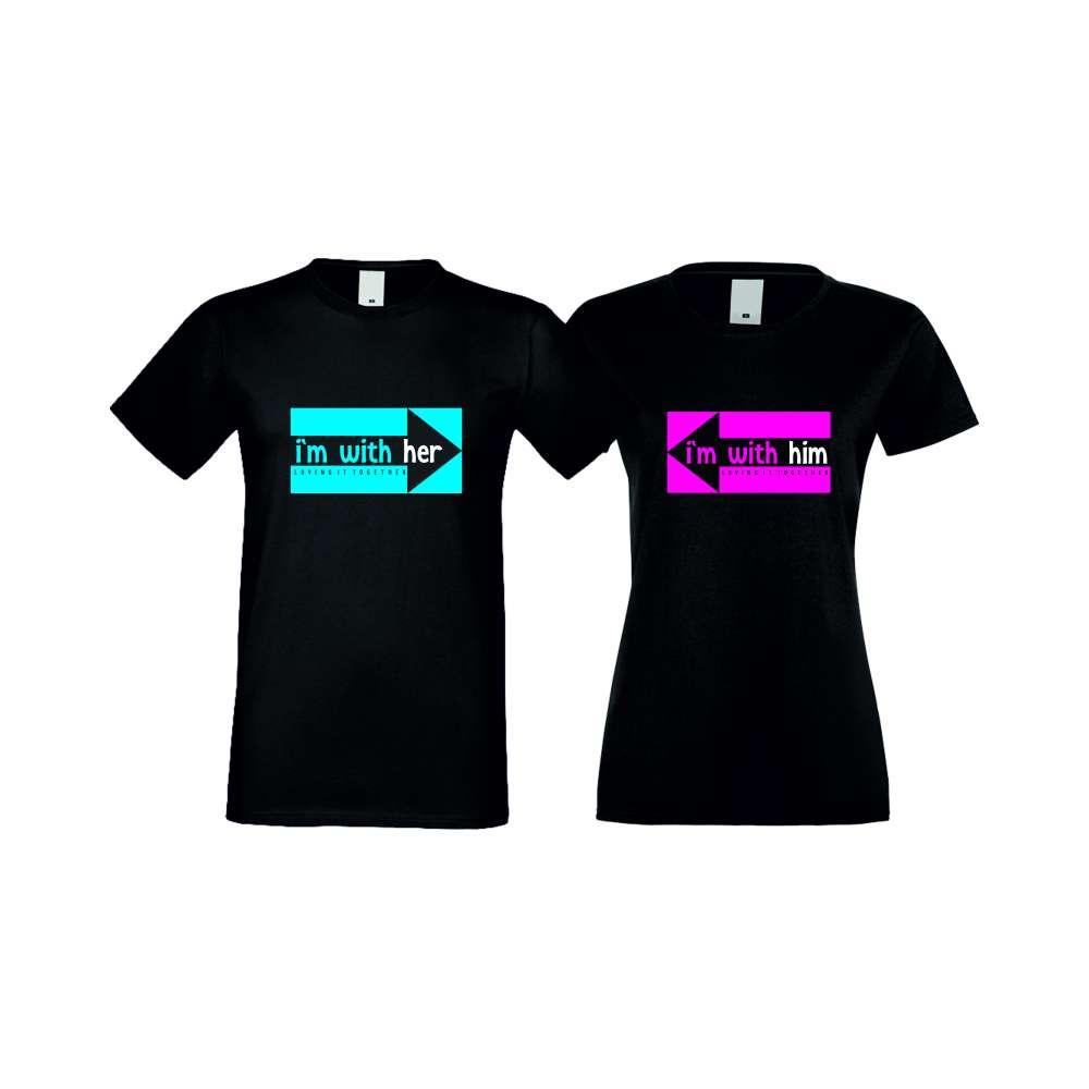 Тениски за двойки I AM WITH HER черни