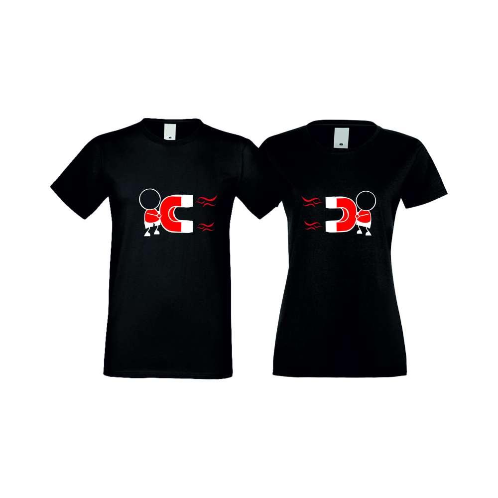 Тениски за двойки MAGNETS LOVE черни