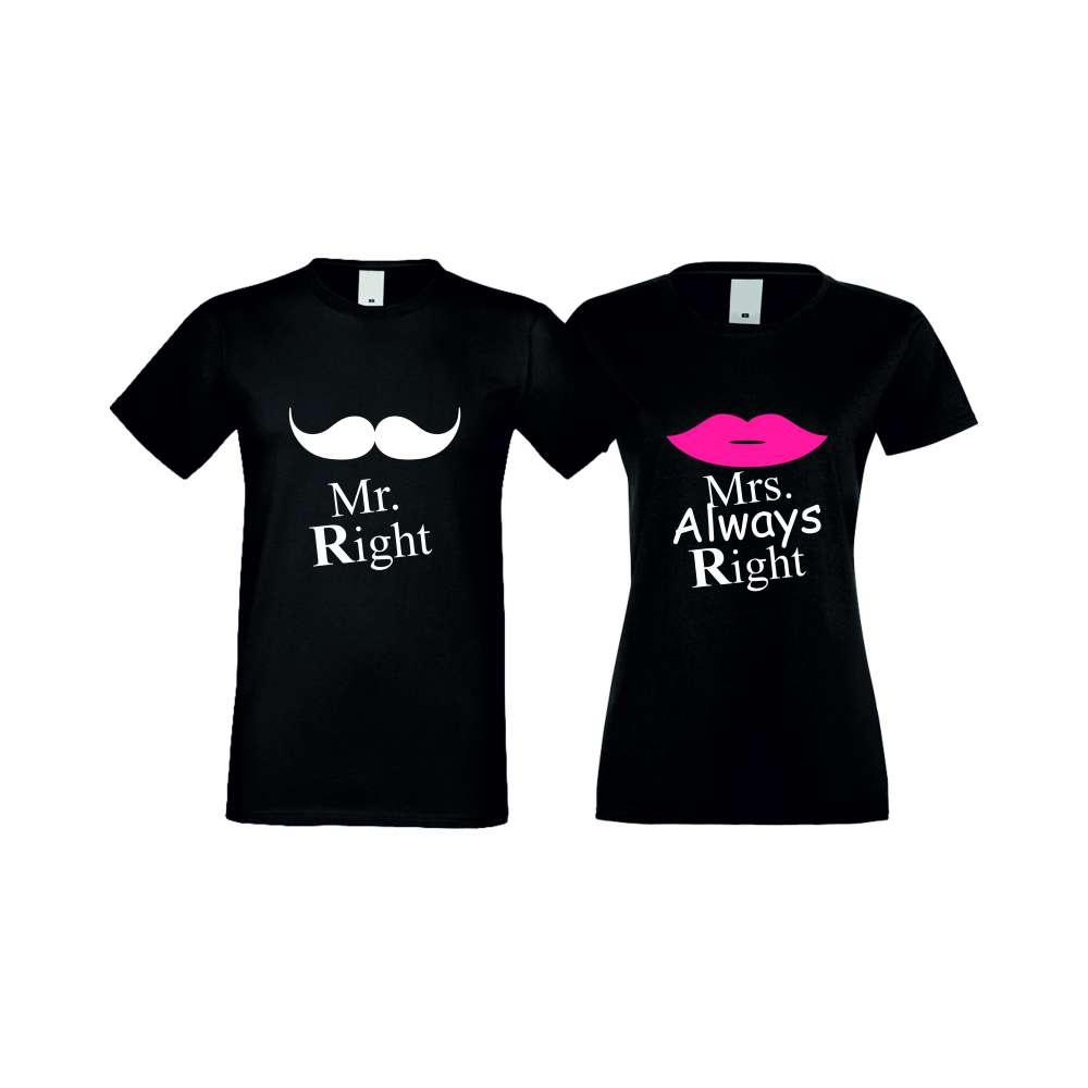 Тениски за двойки Mr Right Mrs Always Right черни