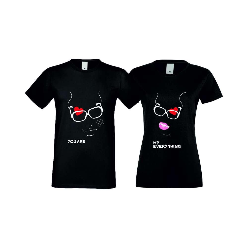 Тениски за двойки MY EVERYTHING черни