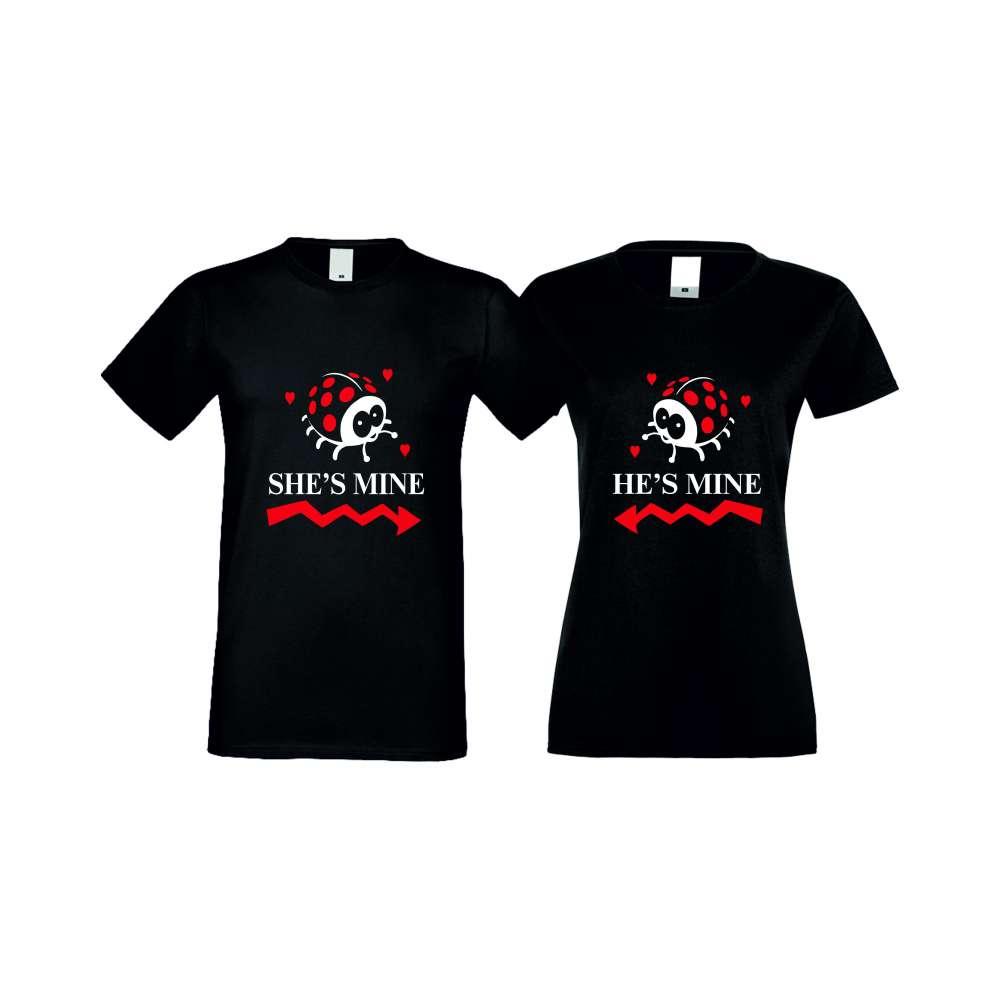 Тениски за двойки SHE IS MINE черни