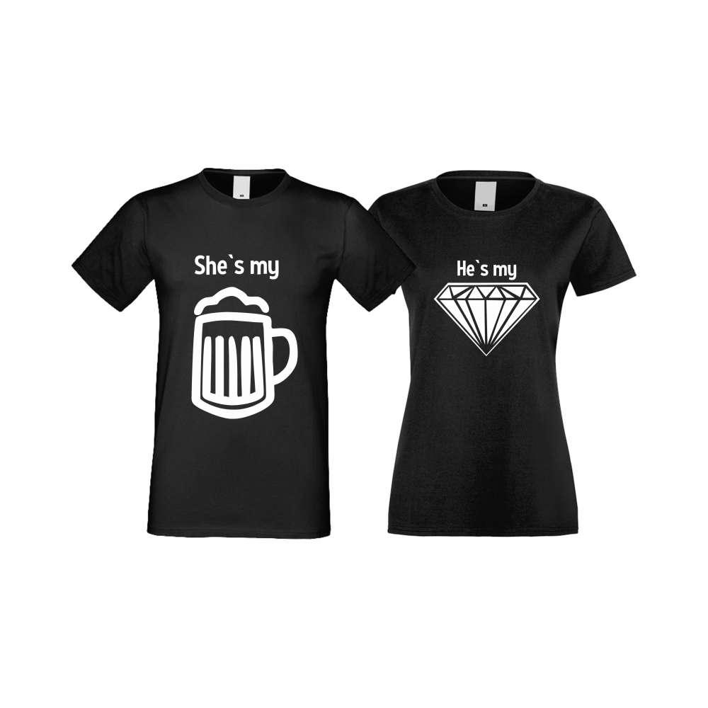 Тениски за двойки SHE IS MY BEER черни