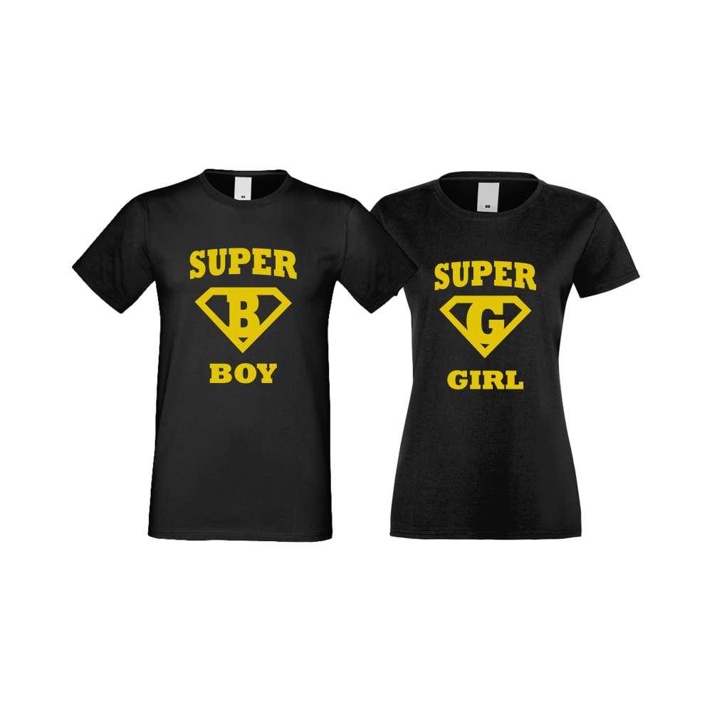 Тениски за двойки SuperBoy - SuperGirl черни