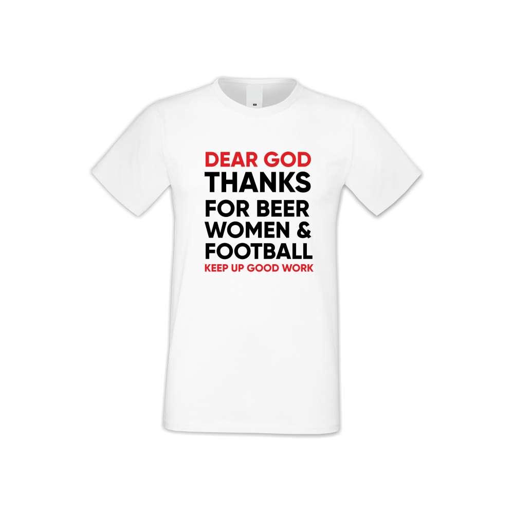 Мъжка бяла тениска Dear God Thanks