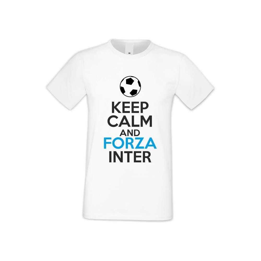 Мъжка бяла тениска KEEP CALM and FORZA INTER