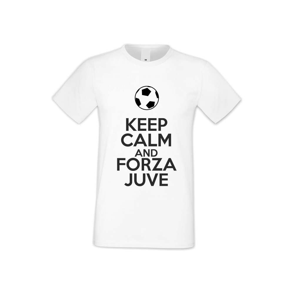 Мъжка бяла тениска KEEP CALM and FORZA JUVE