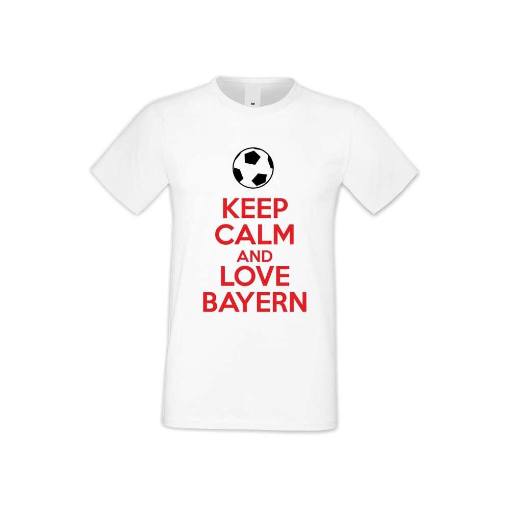 Мъжка бяла тениска KEEP CALM and LOVE BAYERN