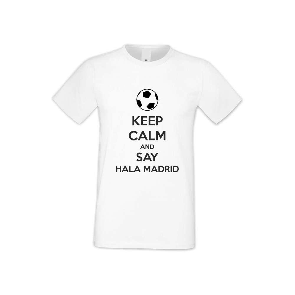 Мъжка бяла тениска KEEP CALM and SAY HALA MADRID