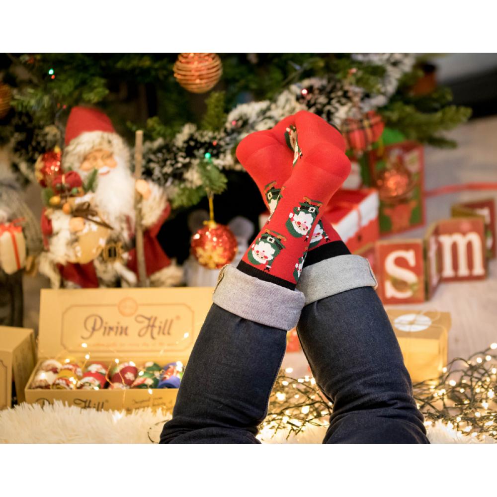 Коледни червени чорапи от пениран памук Christmas Santa