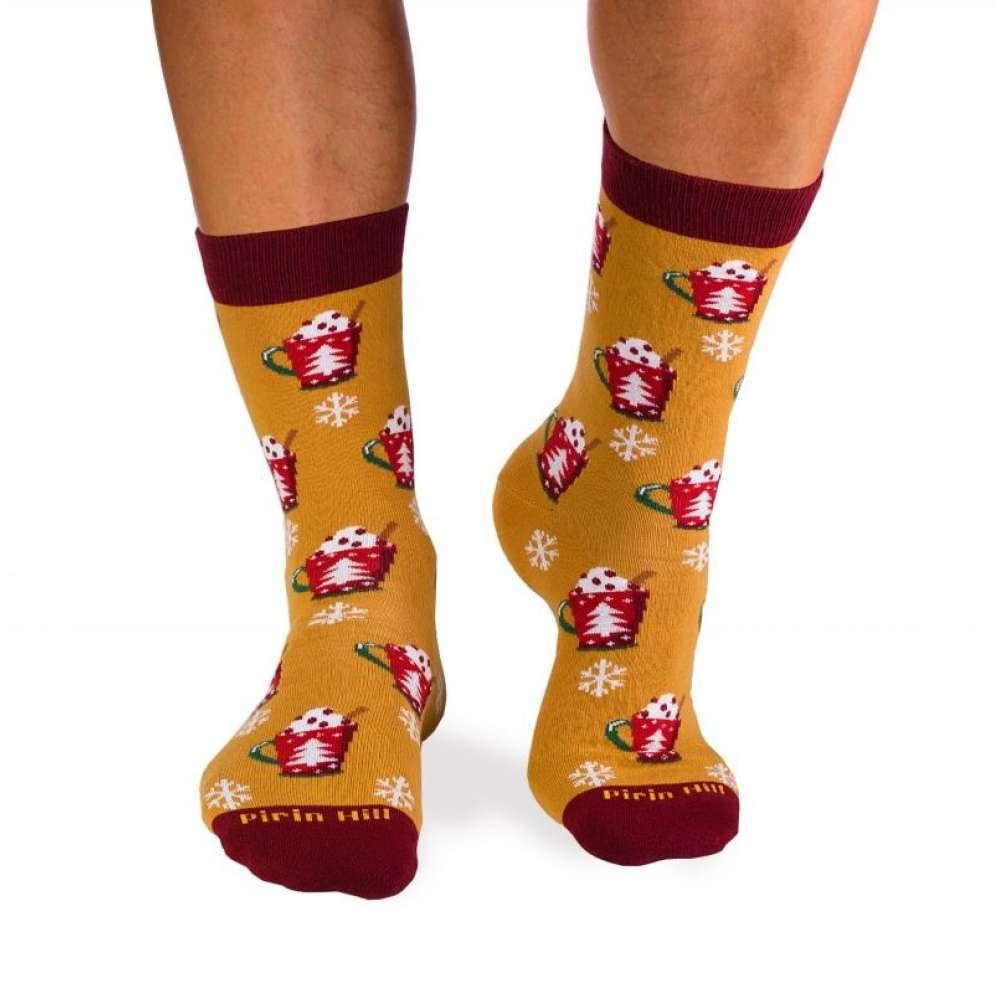 Коледни чорапи от пениран памук Christmas Coffee and Snowman