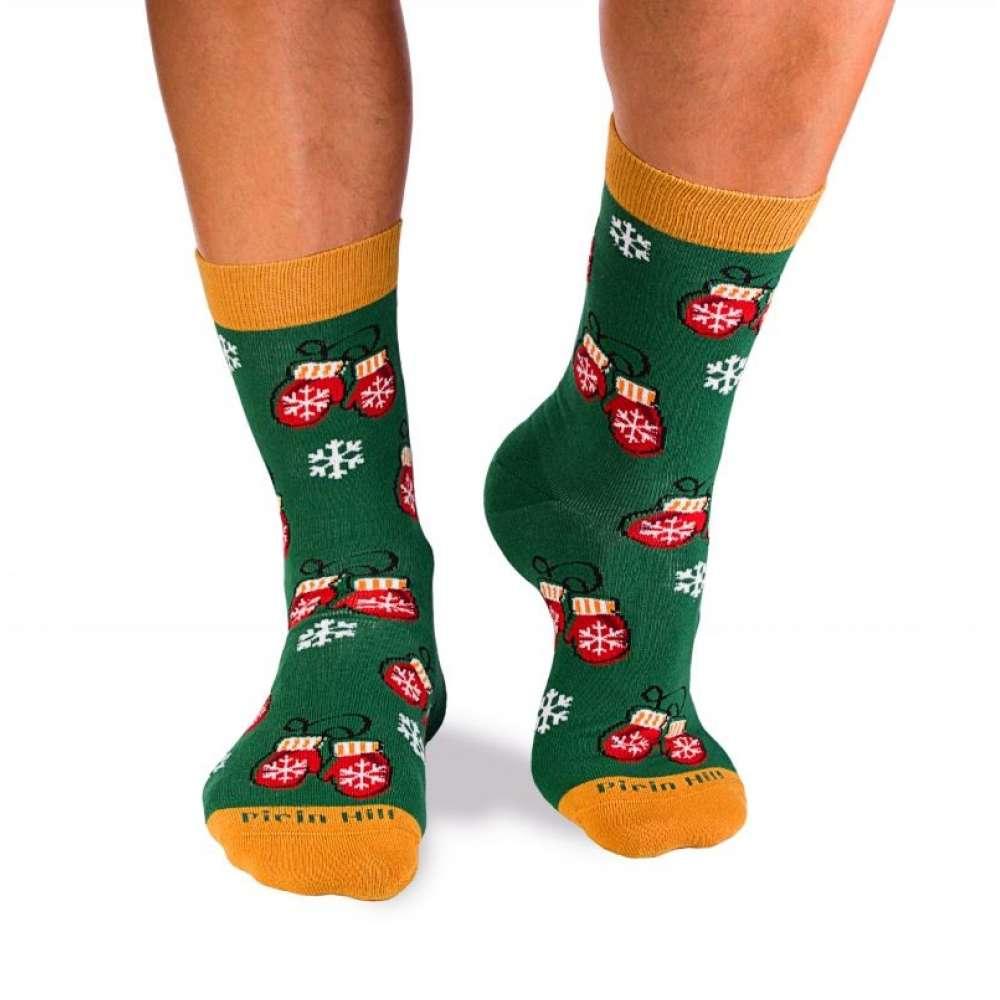 Коледни чорапи от пениран памук Snowflakes and Christmas House