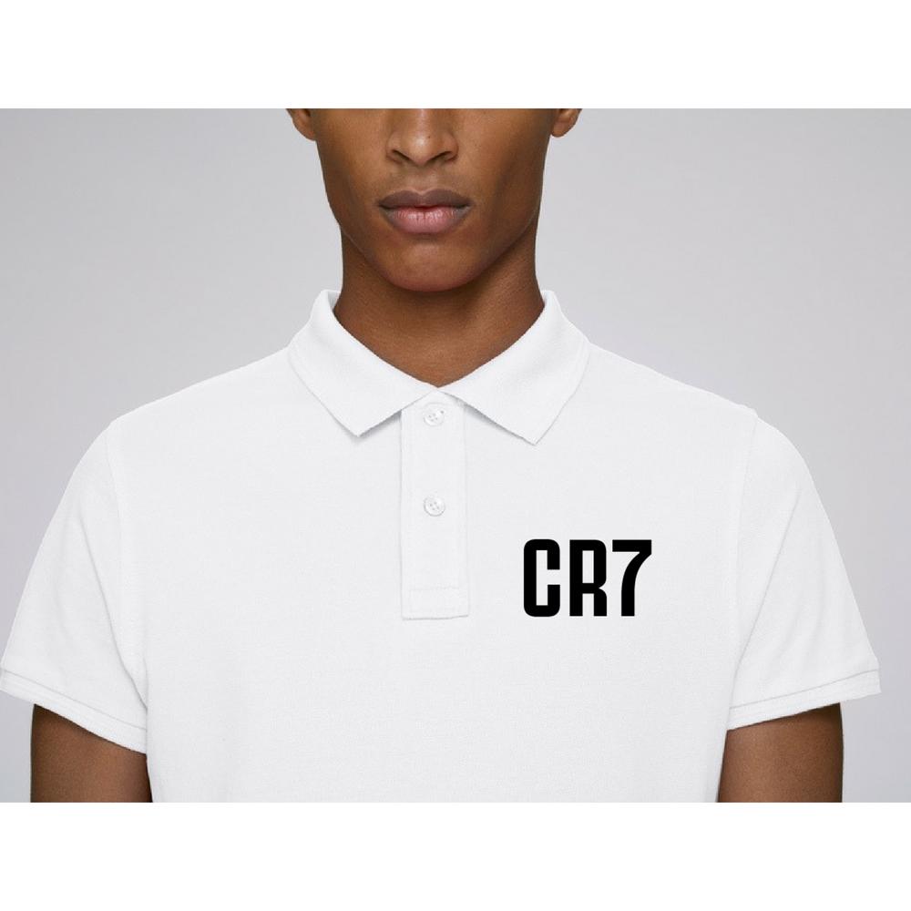 Бяла Поло тениска от 100% органичен памук CR7