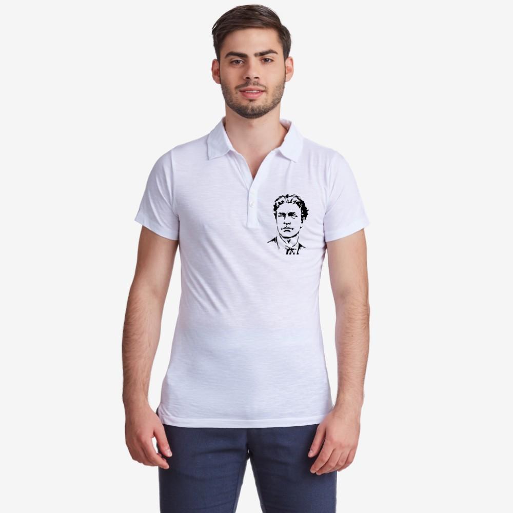 Бяла поло тениска от 100% органичен памук Левски