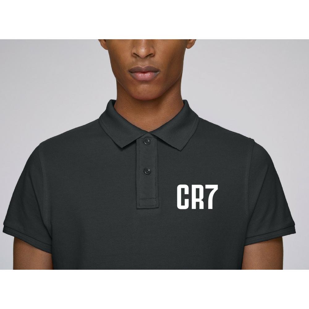 Черна поло тениска от 100% органичен памук CR7