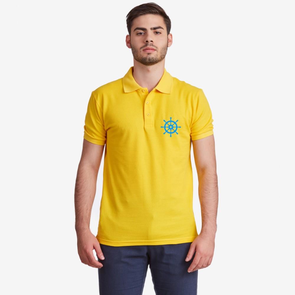 Синя или жълта поло тениска от 100% органичен памук Rudder