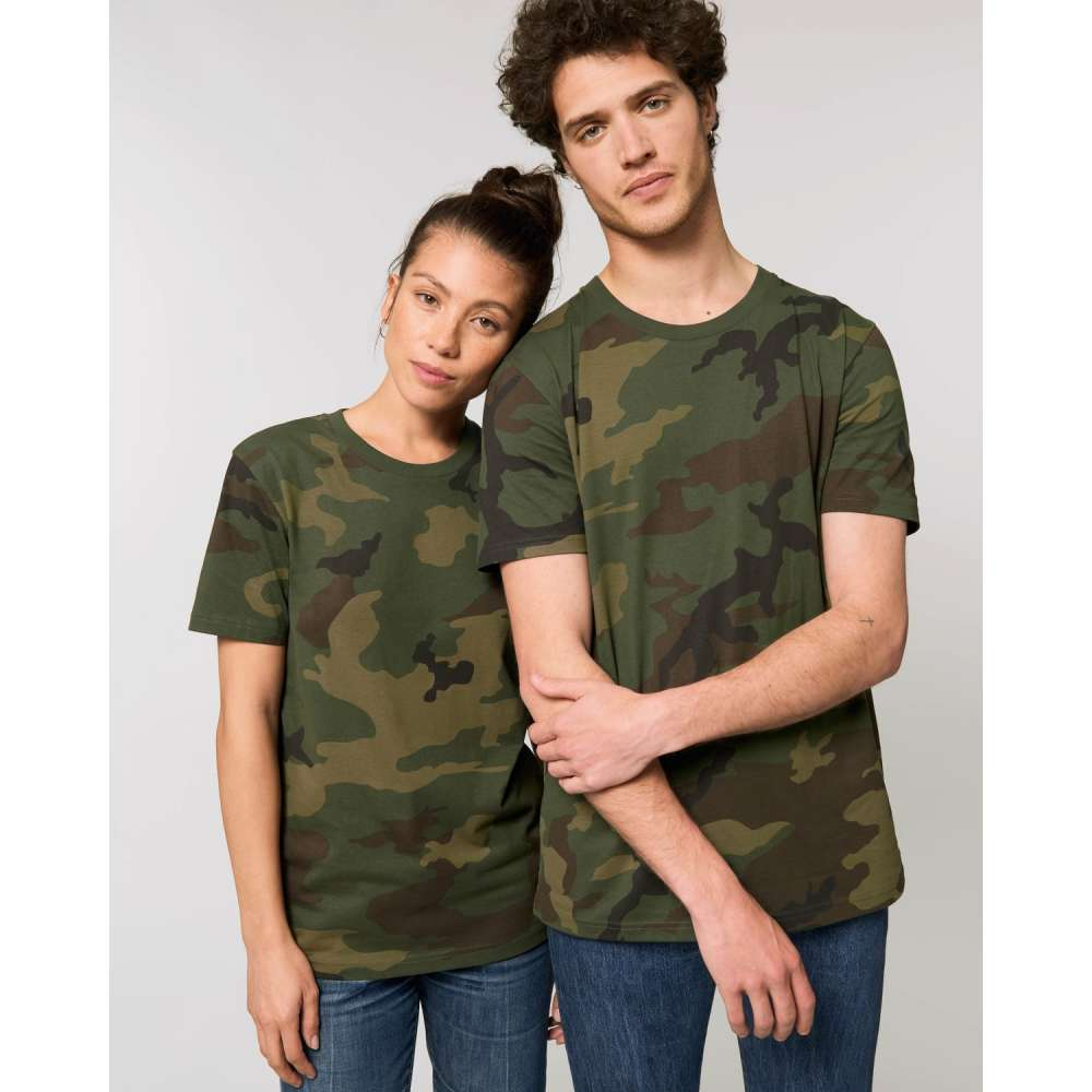 Тениски за двойки от органичен памук в камуфлажен десен