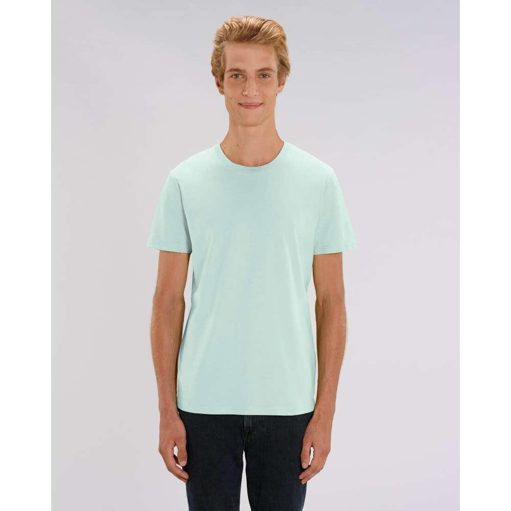 Мъжка тениска от 100% органичен памук в карибско-син цвят
