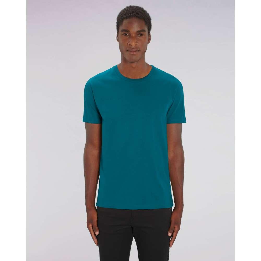 Мъжка тениска от 100% органичен памук в синьо-зелен цвят