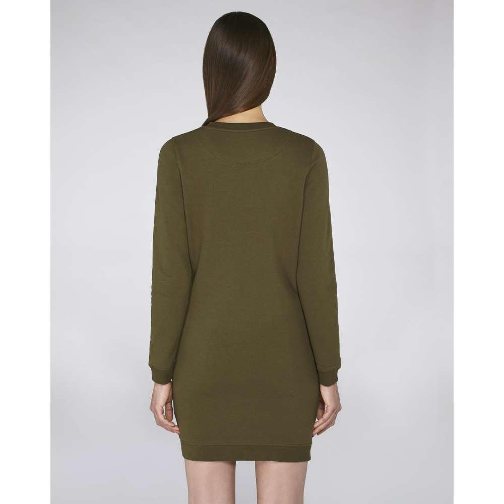 Дамска рокля с дълъг ръкав от органичен памук в цвят каки