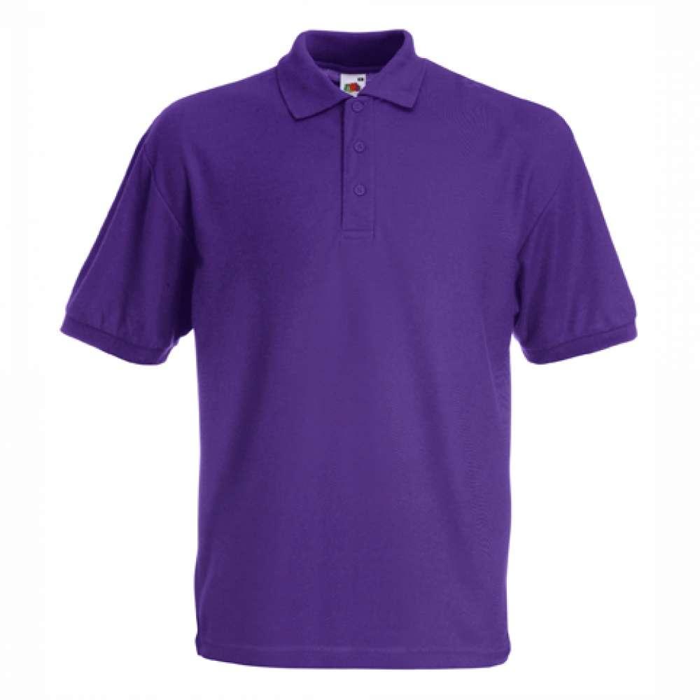 Мъжка риза поло пике от памук и полиестър в лилаво