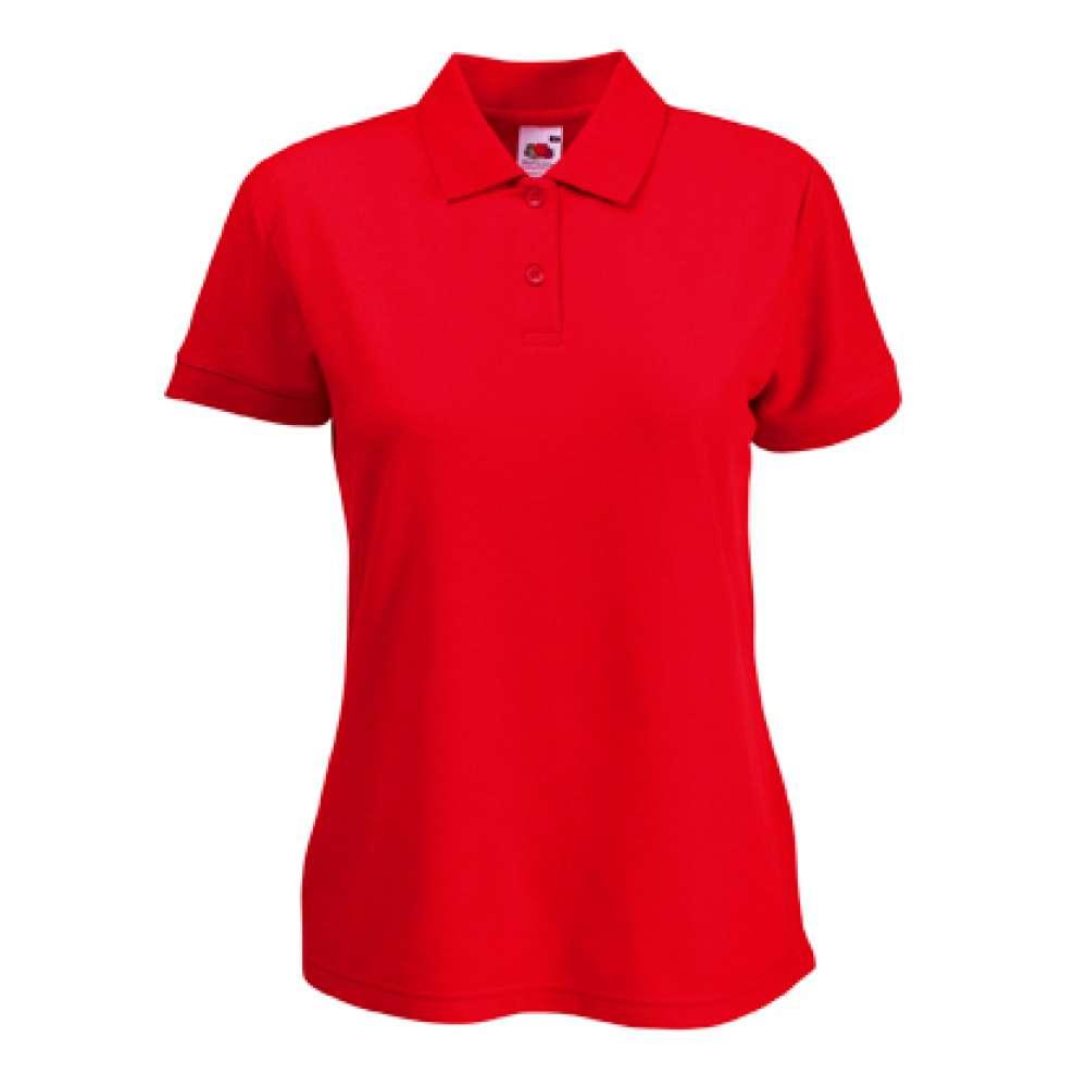Дамска риза поло пике от памук и полиестър в червено