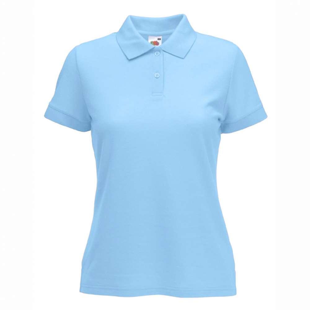 Дамска риза поло пике от памук и полиестър в небесно синьо