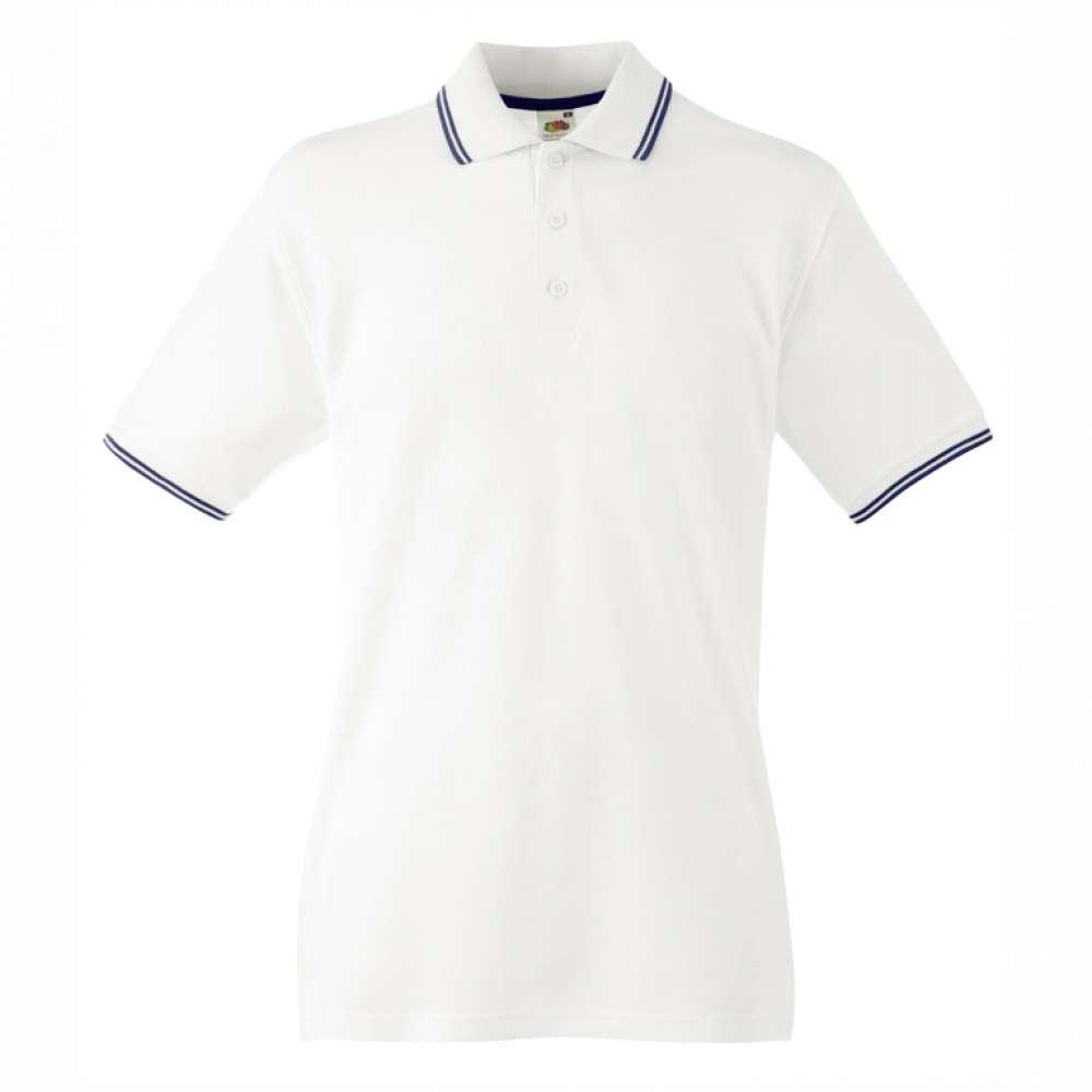 Мъжка поло тениска от 100% памук в бяло и тъмно-синьо